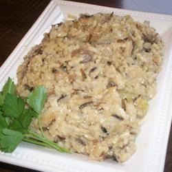Wild Rice Casserole I Recipe - A wild rice mixture is transformed into a flavorful sidedish after several hours in the slow cooker.