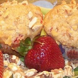 Strawberry Nut Muffins Recipe - A quick and simple muffin recipe with sweet strawberries and crunchy walnuts.