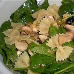 Spinach Pasta Salad Recipe - A unique salad, packed with iron!  Your kids will eat spinach, as long as you don't tell them it's spinach.  Popeye would have loved this!