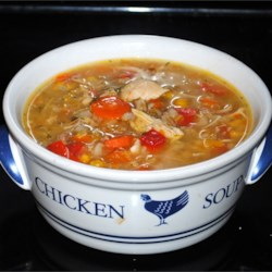 Hearty Chicken Soup Recipe - This soup contains a few different textures and flavors that complement each other nicely.  Serve with warm crusty bread!
