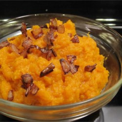 Whipped Cardamom Sweet Potatoes Recipe - The perfume of cardamom permeates these whipped sweet potatoes garnished with thinly sliced fried shallots.