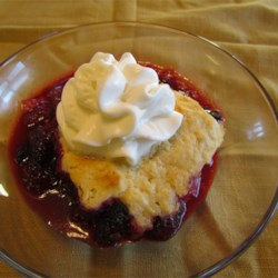 Traditional Blackberry Cobbler Recipe - This cobbler has a traditional drop-biscuit topping.  You can substitute raspberries for half of the blackberries.