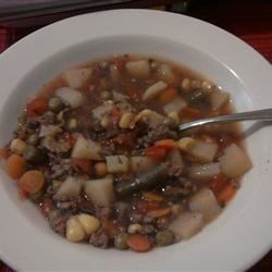 Hobo Beef and Vegetable Soup Recipe - Here's an old-timey hamburger and mixed vegetable soup, made the way Grandma made it (if Grandma had a slow cooker).