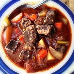 Five Star Venison Stew Recipe - Venison cubes are marinated in French salad dressing to remove the gamey flavor before being browned for this stew.