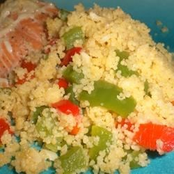 Christmas Couscous Recipe - This is my own creation. It is both tasty and healthy. It looks great on Christmas plates. The couscous is off-white, the peppers are green and red; the colors of Christmas. Taste and you'll know why it is my favorite recipe.