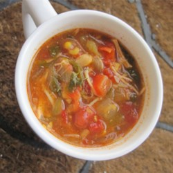 Chicken Enchilada Slow Cooker Soup  Recipe - Chicken breasts cook up tender and flavorful when slow-cooked in this enchilada-inspired soup. Toss all the ingredients into your slow cooker and let it simmer all day long while you're at work. The scent of dinner will come wafting through before you even get through the door!