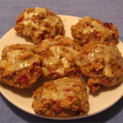 Cranberry Oatmeal Drops Recipe - An oatmeal drop cookie with tangy cranberries added to it. These are great  topped with orange icing.