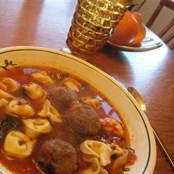 Italian Meatball and Cheese Tortellini Soup Recipe - Using pre-cooked meatballs and fresh cheese tortellini allows you to assemble a quick and hearty soup sure to keep you warm in winter.