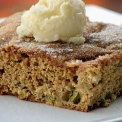 Rhubarb Stir Cake Recipe - Fresh rhubarb, sour cream, and a hint of nutmeg star in this easy coffee cake.