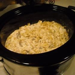 Stroganoff Soup Recipe - Homemade stroganoff...soup? Now you can enjoy beef stroganoff as a soup, using your slow cooker. Round steak, onion and pasta are cooked in mushroom soup and sour cream, with just a splash of steak sauce.