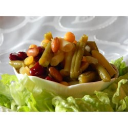 Marinated Five Bean Salad Recipe - This peppy bean salad is a colorful mix of green, yellow wax, red kidney, garbanzo, and black beans, perked up by a dressing with mustard, cilantro and tarragon.