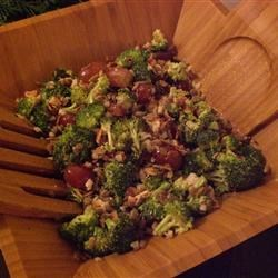 Broccoli Salad III Recipe -  Chunks of  turkey or chicken add a variety to this wonderful broccoli salad. Try with crisp red grapes and a bit of diced red onion. Instead of mayonnaise, use a creamy style salad dressing done up with vinegar and sugar.