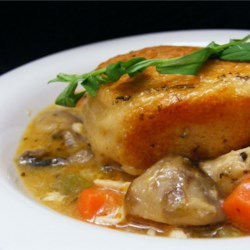 Chef John's Chicken and Biscuits Recipe and Video - This recipe is the best of three chicken dinner favorites--chicken and biscuits, chicken pot pie, and chicken and dumplings--all in one!