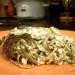 Spinach Noodle Casserole Recipe - Spinach noodles in a creamy, zesty sauce. Quick, easy and very healthy. It is very yummy as well! If desired, serve with additional sour cream and Texas herb toast!!
