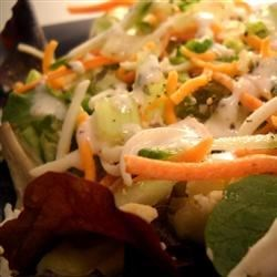 Tasty Home Salad Recipe -  This great summer salad uses bottled dressing, but poultry seasoning and dried oregano are sprinkled in to give it a really interesting flavor. It works nicely with the romaine, green onion, cucumber, celery, and grated carrot salad combo.