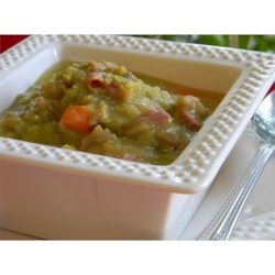 Tackee David's Split Pea with Ham Recipe - Hearty split-pea soup is made with a nice big ham bone to add flavor.