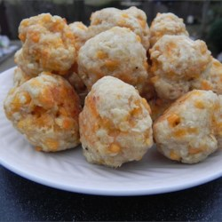 Spicy Chicken-n-Cheese Balls Recipe - This is a quick, easy and tasty appetizer. Baking mix, ground chicken, and shredded cheese are mixed up and rolled into balls. Serve hot or cold with southwestern ranch dressing or your favorite dipping sauce.