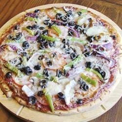 Vegetarian's Delight Pizza Recipe - Well this is easy as one, two, three. Brush the pizza crust with olive oil. Spread with tomato sauce. Top with veggies and cheese. Woops, four. Bake until cheese melts and bubbles.