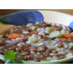 Ten Bean Soup I Recipe - One pound of mixed beans soaked over night are cooked covered in water with onions, celery and garlic sauteed with  bacon in this recipe for a simple, yet hearty, soup.