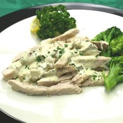 Chicken with Mustard Sauce Recipe - A sophisticated blend of mustards, cream, and vermouth give this relatively easy chicken dish a wonderfully unique flavor.