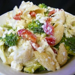 Colorful Pasta Salad Recipe - Delicate seashell pasta is tossed with fresh cauliflower, broccoli, red bell pepper and cottage cheese.  A garnish of fresh parsley completes this colorful salad.