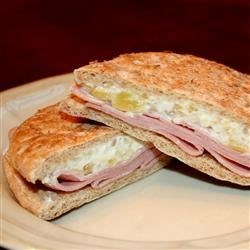 Ham Pineapple Sandwiches Recipe - I found a recipe for Pineapple Sandwiches on white bread that was far too sweet.  I put some ham on it, and put it on whole grain bread for a slightly healthier alternative that is not nearly so sweet!
