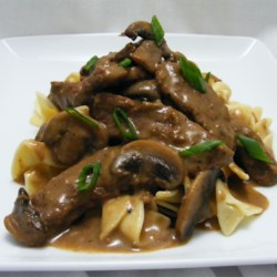Beef Stroganoff III Recipe and Video - Strips of chuck roast simmered with green onions and mushrooms, then flavored with mustard and a good Rhine wine make a delicious beef stroganoff.
