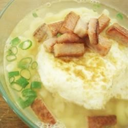 Macaroni Soup with Spam and Fried Egg
