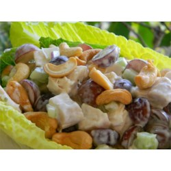 Southern Chicken Salad Recipe - Tangy dill and buttermilk highlight the dressing for a special chicken salad tossed with grapes, celery and cashews.