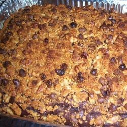 New Orleans Crumb Cake Recipe - An easy chocolate cake from a mix with a dandy streusel topping of graham cracker crumbs, chocolate chips and walnuts.