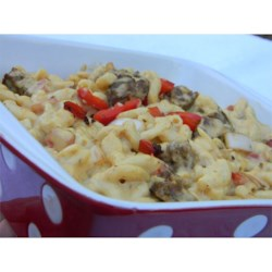 Macaroni and Cheese with Sausage, Peppers and Onions Recipe - Macaroni and cheese is perfect supper food. It's a kids' favorite, and adults like it too. My recipe is simple and almost as quick as the boxed variety. Try this variation with Italian sausage and bell peppers.