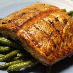Grilled Salmon I Recipe - A simple soy sauce and brown sugar marinade, with hints of lemon and garlic, are the perfect salty-sweet complement to rich salmon fillets.