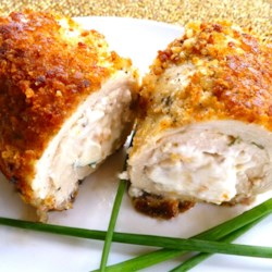 Chicken Nepiev Recipe - Chicken, cream cheese, and garlic unite in this marriage of Chicken Neptune, Chicken Kiev, and a shorthanded pantry! Takes less fuss than either of its inspirations, and recipe can easily be increased for larger households.
