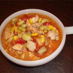 Brunswick Stew Recipe - This simple, hearty stew consists of chicken and salt pork with potatoes, beans and other vegetables seasoned with Worcestershire sauce, salt and pepper.