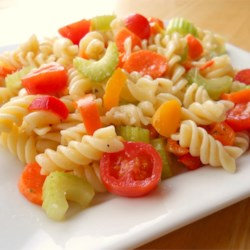 Zesty Rotini Salad Recipe - This colorful salad serves great for BBQ's, fancy dinners -- goes with just about any kind of meal. Quick and easy, and very tasty. It will be a hit.