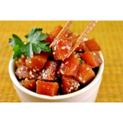 Ahi Poke Basic Recipe and Video - This is a standard raw tuna (poke) salad served in most Hawaiian homes.  Although unconventional, it is sure to please the more adventurous seafood lovers.  Be sure to use fresh tuna for the very best flavor, although fresh frozen tuna will produce acceptable results.