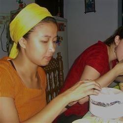 Eating dinner in India