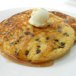 Lighter Chocolate Chip Pancakes Recipe - Made with whole wheat flour, wheat germ, and skim milk these chocolate chip pancakes sound healthy but taste delicious.