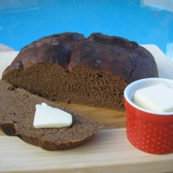 Chocolate Bread Recipe - This is not a sweet bread at all, but rather a savory loaf that makes a terrific breakfast or snack.  Smear it with cream cheese or honey for added pleasure.