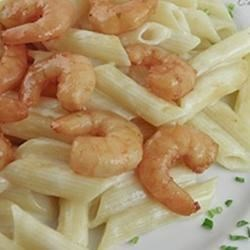 Penne Alfredo with Asian Flavored Shrimps