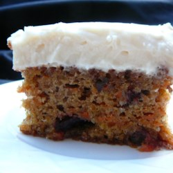 Cranberry Carrot Cake Recipe - Moist and delicious. The cranberries are a nice change from the raisins most people use.