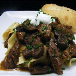Chef John's Classic Beef Stroganoff Recipe and Video - This is a fairly lean version of beef stroganoff, as most recipes call for more cream. This is something you can easily adjust to your tastes. I like a little thicker version, with just enough sauce to coat the meat and noodles.