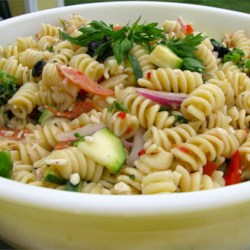 Summer Pasta Salad II Recipe - Fresh vegetables and pasta with salami, pepperoni and tasty artichoke hearts make for a beautiful, crowd pleasing Summer dish.