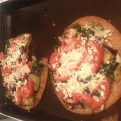 Spinach, Eggplant, Pesto Pizza