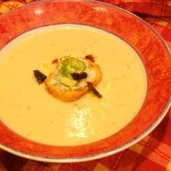 Apple Fennel Soup with blue cheese crostini