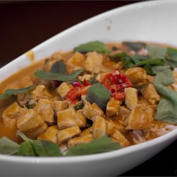Panang Curry with Chicken Recipe and Video - Panang curry paste, coconut milk, and chicken breast are the base of this simple curry dish.