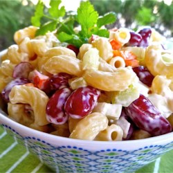 Elbow Macaroni and Kidney Bean Salad Recipe - A salad made with elbow macaroni and kidney beans has a red wine vinegar and light mayonnaise dressing. It is perfect for picnics!