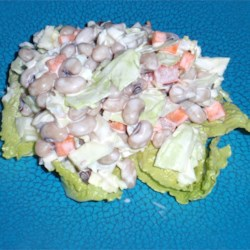 GlendaLee's Black-Eye Pea Salad Recipe - A couple tablespoons of vinegar adds the right amount of zing in this black-eyed pea and cabbage salad.