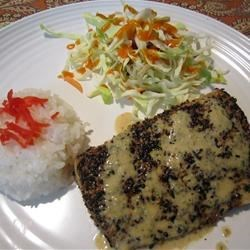 Sesame Crusted Mahi Mahi with Soy Shiso Ginger Butter Sauce Recipe - Mahi mahi fillets are encrusted with black and white sesame seeds, and pan seared. The sauce is rich and creamy, and flavored with soy, ginger, shallots, and shiso (a Japanese herb related to basil and mint).
