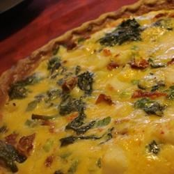 Surimi, Spinach, and Roasted Red Pepper Quiche